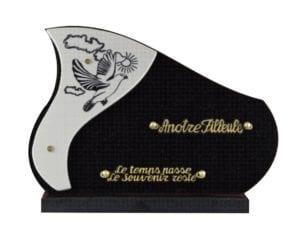 107 colombe 35x5 noir fin et céramique - granit ép.1cm et doublure 1 cm céramique²