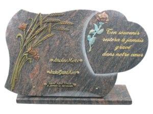 412 65x40 2 bronzes couleur sur base - Existe également avec des bronzes classiques Toutes dimensions et granits sur demande