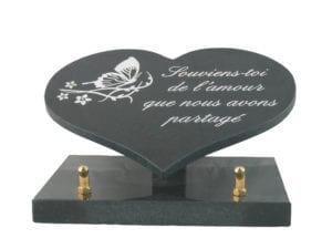 coeur n° 141 - Dimension 15x11 granit noir fin, 1 cm épaisseur, sur socle granit Tous décors et textes au choix