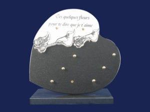coeur double 30x30 Arums - Toutes dimensions et granits sur demande