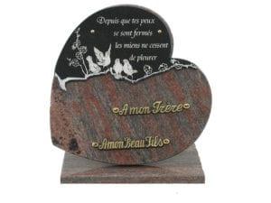 coeur double fauvettes gravées 30X30 - Toutes dimensions et granits sur demande