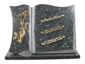 livre n° 118 - existe en 35x25, 30x45 ou 35x45 Toutes couleurs de granit. Sur équerres ou sur base